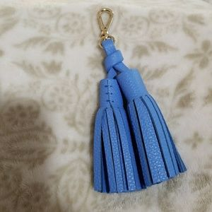 Kate Spade Double Blue Leather Tassel Key Fob